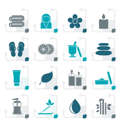 Stylized spa objects icons vector