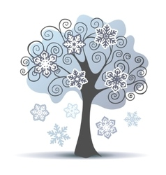 Stylized winter tree with some snowflakes vector image