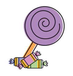sweet lollipop with candies vector image