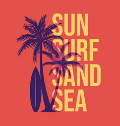t shirt design sun surf sand sea with silhouette vector image