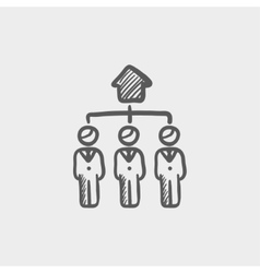Three agent in one house sketch icon vector