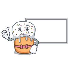 thumbs up with board easter cake character cartoon vector image
