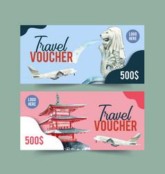Tourism voucher design with merlion chureito vector