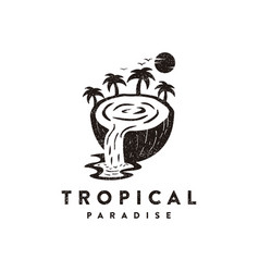 traveling logo coconut with waterfall vector image