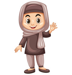 turkish kid waving hand vector image