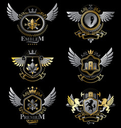 vintage decorative heraldic emblems composed vector image