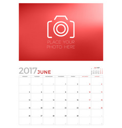Wall calendar planner template for june 2017 week vector