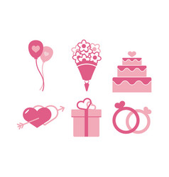 wedding icon design template isolated vector image