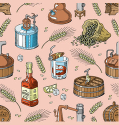 Whiskey alcohol beverage brandy in glass vector