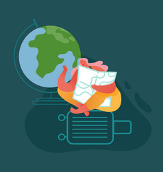 woman character with globe and suitcase on vector image