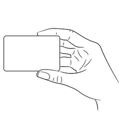 woman hand holding a plastic card on white vector image