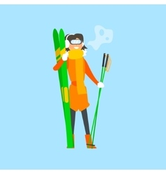 Woman Holding Skis and wearing Goggles vector