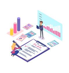 worker making business plan infographics diagram vector image
