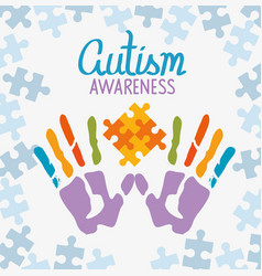 world autism day with handprints vector image