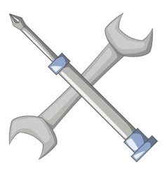 Wrench and screwdriver icon cartoon style vector