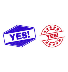 Yes exclamation unclean seals in round and hexagon vector
