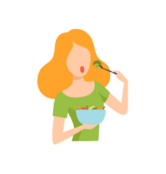 Young beautiful woman holding a bowl of vegetables vector