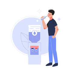 young man drinking fresh clean water at cooler vector image
