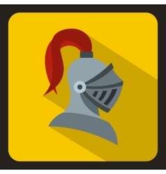 Medieval knight helmet icon flat style vector image vector image