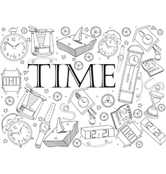Time coloring book vector image vector image