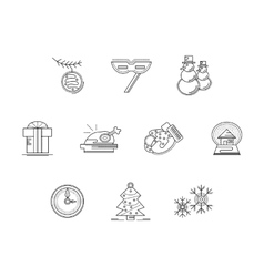 Xmas party accessories flat line icons set vector image vector image