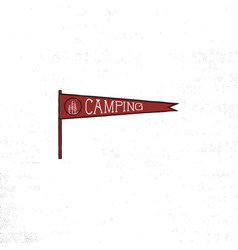 camping pennant template vintage hand drawn vector image vector image