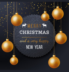 christmas label with type design golden balls vector image vector image