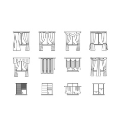 Curtains Types Thin Line Set vector image vector image