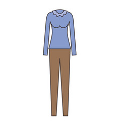female clothes with pant and blouse long sleeve in vector image vector image