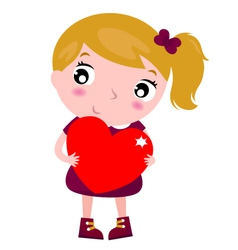 First love - cute little girl holding red heart vector image vector image
