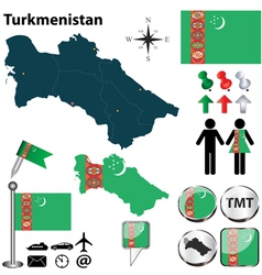Map of Turkmenistan vector image vector image