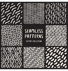 Set of Eight Seamless Black and White Hand Drawn vector image