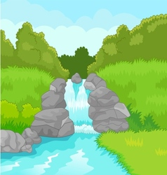 Beautiful waterfall cartoon vector image vector image