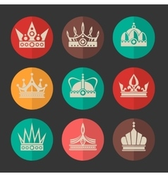 royal crowns icons set vector image vector image