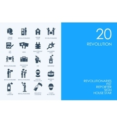 Set of BLUE HAMSTER Library revolution icons vector image