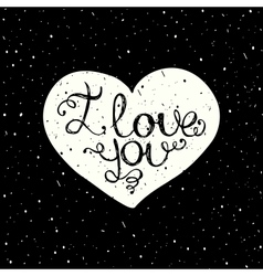 I love you with hand lettering on the heart vector image vector image