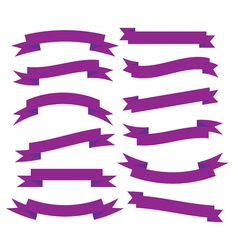 Set of beautiful festive purple ribbons vector image