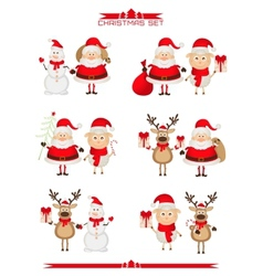 Set of Christmas characters Santa Claus reindeer vector image