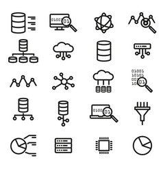 simple set of big data database cloud computing vector image vector image