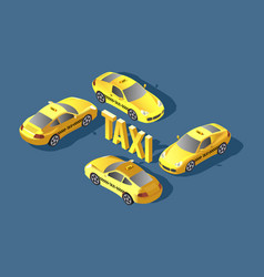 yellow sedan car taxi transport service vector image