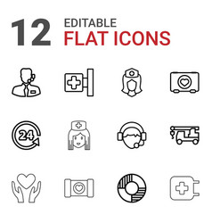12 assistance icons vector