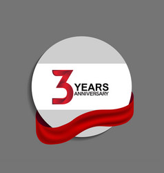 3 years anniversary design in circle red ribbon vector