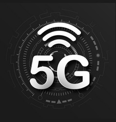 5g cellular mobile communication black logo vector