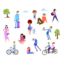 a crowd people in park outdoor activities vector image