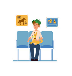 a man with his pet dog is sitting and waiting for vector image