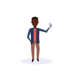 african american man doing selfie standing pose vector image