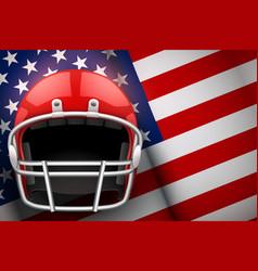 american football helmet and us flag vector image