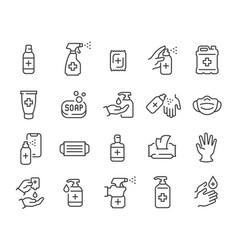 antiseptics and antivirus protection icon set vector image