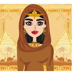 Arabian woman in desert - card vector