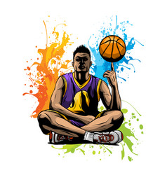 basketball player with the vector image